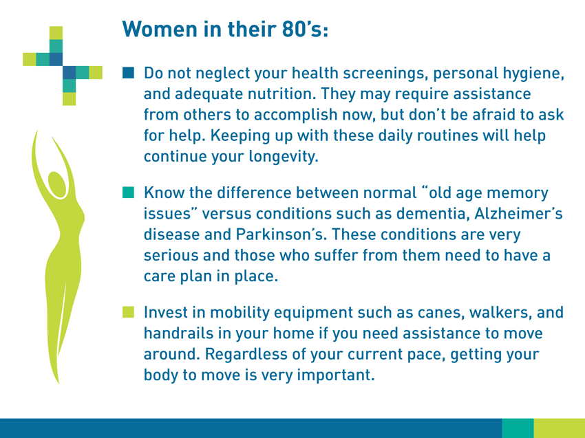 "Women in their 80s: Do not neglect your health screenings, personal hygiene, and adequate nutrition. They may require assistance from others to accomplish now, but don't be afraid to ask for help. Keeping up with these daily routines will help continue your longevity. Know the differences between normal ""old age memory issues"" versus conditions such as dementia, Alzheimer's disease and Parkinson's. These conditions are very serious and those who sugger from them need to have a care plan in place. Invest in mobility equipment such as canes, walkers, and handrails in your home if you need assistance to move around. Regardless of your current pace, getting your body to move is very important."